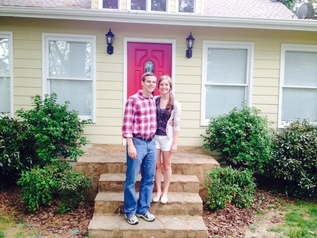 In front of our new house!